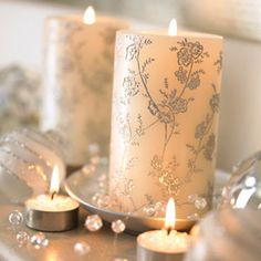 Silver wedding candle