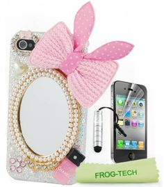 Frog tech - handmade pearl crystal cute Bling mirrors and pink bunny bow shiny hard case cover for girl for iPhone 4S and 4 Verizon Company AT & T + Free Frog Technology Stylus + microfiber cleaning cloth + screen protector Frog-Tech,http://www.amazon.com/dp/B00E3KRQ78/ref=cm_sw_r_pi_dp_bCjztb1P6D09AJ5N