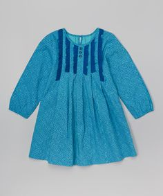Blue Pleated Dress - Toddler & Girls