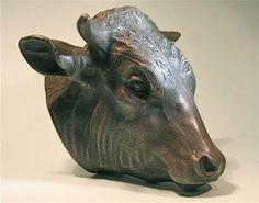 Large Antique Metal Pewter Hanging Bull Cow Animal Head