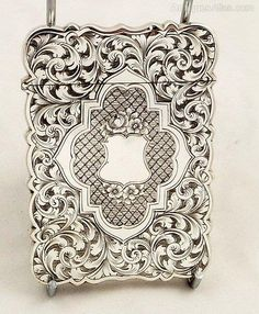 SUPER ANTIQUE VICTORIAN STERLING SILVER CARD CASE - 1859 in Antiques, Silver, Solid Silver | eBay
