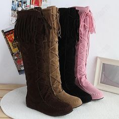 Discount China china wholesale Korean Womens Nubuck Tassel Trim Lace Up High Knee Length Sweet Riding Boots Comfort [50018] - US$21.49 : DealsChic