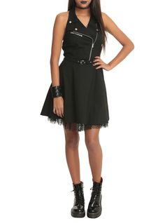 Royal Bones Black Moto Dress | Hot Topic