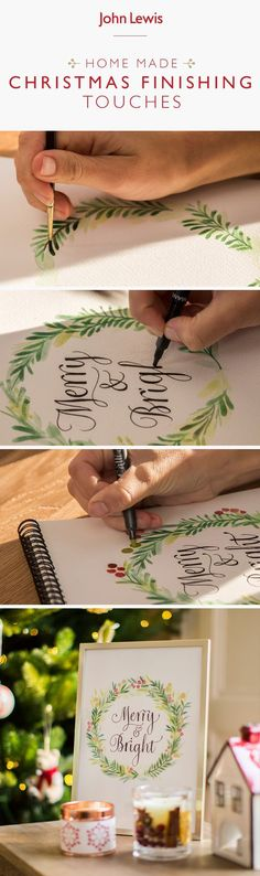 Add a personalised finishing touch to your Christmas decorations or gifts, with delicate calligraphy. Create Slogans or personalise your decoration with a loved one's name using acrylic paints, watercolour or felt tip pens. All Things Christmas, Christmas Home, Christmas Crafts, Christmas Decorations, Xmas, Christen, Merry And Bright, Christmas Inspiration, Making Ideas