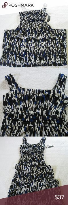 """NWT AB Studio maxi dress- royal blue, black, white Brand new elegant maxi dress in black. White, and royal blue. Ruched waist detail all the way around. Scoop neck and back. Approx. 16"""" armpit to armpit and 55"""" long. AB Studio Dresses Maxi"""