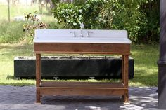 Vintage Refinished Double Drainboard Cast Iron Porcelain Sink Reclaimed Cypress Stand