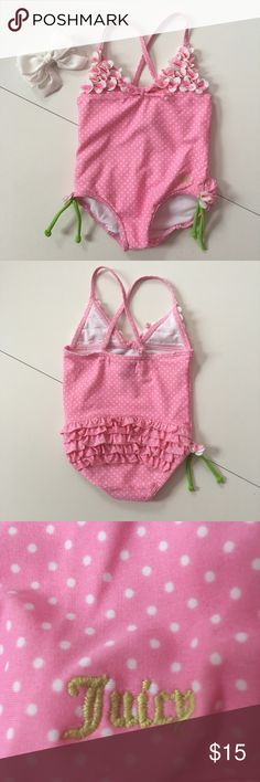 🔥2 Hour Sale!🔥 EUC Juicy Couture Baby Swimsuit Adorable Baby Girl Juicy Couture Swimsuit Baby Pink with white polka dots, with floral triangular top. Adorable lime green side accent ties! Excellent Condition Juicy Couture Swim One Piece