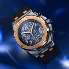 """The Audemars Piguet Royal Oak Offshore Selfwinding Chronograph Bucherer BLUE features a deep blue """"Méga Tapisserie"""" dial and perfectly embodies a  """"sport-chic"""" style. Its two-tone case combines a stainless steel case with an 18-carat pink gold bezel and links, developed specifically for Bucherer BLUE. Discover online now. Fossil Watches, Fine Watches, Sport Chic, Royal Oak Offshore Chronograph, Blue Waffle, Seamaster Watch, Audemars Piguet Royal Oak, Luxury Watches For Men"""
