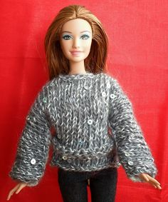 Crochet Toy Barbie Clothes Happier Than A Pig In Mud: Long Sleeve Barbie Sweater Pattern-Knit in One Piece Barbie Knitting Patterns, Knitting Dolls Clothes, Crochet Doll Clothes, Sweater Knitting Patterns, Knitted Dolls, Doll Patterns, Knit Patterns, Knitting Ideas, Crochet Poncho With Sleeves