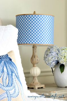 Cool Down with Blue and White, blue and white decor, summer style, HomeGoods… Beach Cottage Decor, Coastal Decor, White Cottage, Cottage Style, Bedroom Lampshade, Decorative Lamp Shades, Savvy Southern Style, Blue Gingham, Dream Decor