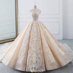 45cf31be7cd Luxury   Gorgeous Champagne See-through Wedding Dresses 2019 Ball Gown High  Neck Sleeveless Backless Appliques Lace Beading Cathedral Train Ruffle