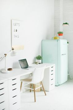 White and bright workspace, chic home office decor idea, mint smeg fridge