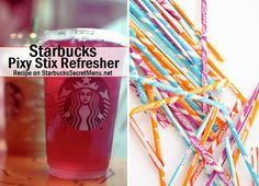 Pixy Stix Refresher via Starbucks Secret Menu! Recipe here: http://starbuckssecretmenu.net/starbucks-secret-menu-pixy-stix-refresher/