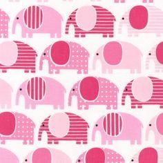 Pink Elephants From Robert Kaufman 1 Yard by StitchStashDiva, $8.95