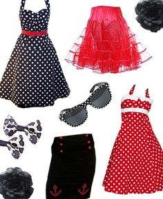 Get the rockabilly look with our fab range of clothing and accessories. Our style rockabilly polkadot swing dresses come in red. Rockabilly Looks, Rockabilly Fashion, Retro Fashion, Girl Fashion, Vintage Fashion, Fashion Outfits, Rockabilly Dresses, Rockabilly Girls, Fifties Fashion