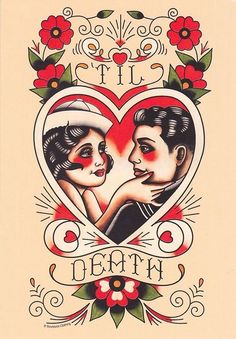 """Til Death"" wedding, loe, heart tattoo flash 