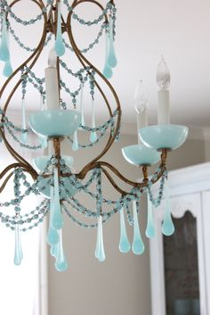 Maison Decor: Vintage Blue Chandy for the Dining Room