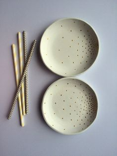 Air dry clay jewelry dish: WHITE & GOLD DOTS by 12thBoutique More