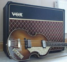 1964 Hofner Violin Bass                                                                                                     Resting Against an Early 60's Vox Ac-30