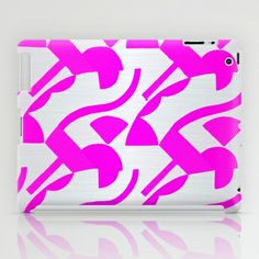 pink neon on silver iPad Case #abstract,#neon,#pink,#silver