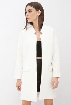 Open-Front Textured Coat - Jackets & Coats - 2055880252 - Forever 21 EU