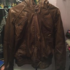 Brown faux leather hooded jacket from PacSun Worn once, like new Sound & Matter Jackets & Coats