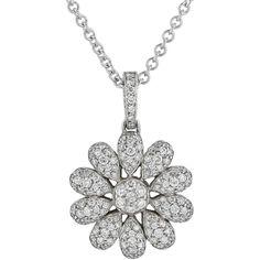 Preowned 1.70 Carat Diamond Flower Pendant ($9,000) ❤ liked on Polyvore featuring jewelry, pendants, multiple, 18 karat gold jewelry, diamond pendant jewelry, diamond jewellery, flower pendant and preowned jewelry