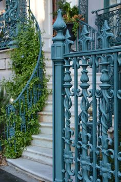 I'm taking you back to Charleston, South Carolina today and sharing some photos of beautiful wrought iron gates, glimpses into courtyard gardens and some of the church steeples …