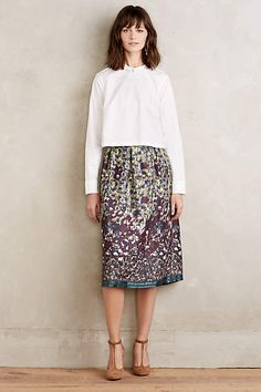 Painted Petal Midi Skirt