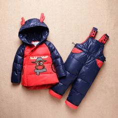 (36.14$)  Know more - http://aiasw.worlditems.win/all/product.php?id=32752664273 - 2016 Baby Down Jacket For Baby Boys And Girls Winter Clothing Set Children Down Coat Pant 2pcs Clothes Set