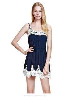 New Summer Dress Sexy Fashion Women Spaghetti Strap Dress Cute Girl Women White Lace Patchwork 1
