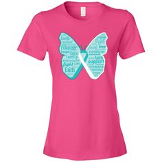 Cervical Cancer Butterfly Collage of Words Women's Fashion T-Shirt - Hot Pink | Awareness Ribbon Colors T-Shirts and Gifts