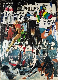 Untitled (1978) décollage on canvas by Mimmo Rotella