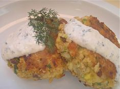 Salmon Cakes with Lemony Horseradish-Dill Sauce - Click for Recipe