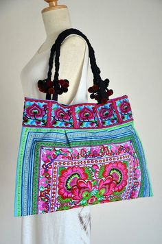 Women Handcrafted in Floral Design Bag Hmong Bag Hill by Dollypun