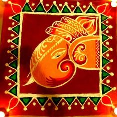 Discover the most beautiful collection of lord Ganesh rangoli designs for Diwali. Ganapati rangoli designs are very popular in competitions during Diwali. Rangoli Designs For Competition, Rangoli Ideas, Rangoli Designs With Dots, Rangoli Designs Diwali, Beautiful Rangoli Designs, Kolam Designs, Diwali Pooja, Diwali Rangoli, Ganesh Design