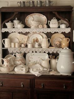 Hutch with brown transferware and white ironstone Dish Display, China Display, Vintage Dishes, Vintage China, Country Decor, Farmhouse Decor, Muebles Shabby Chic, White Dishes, White Pitchers