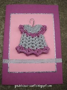 gordelicious creative crafts: crochet Make your own cards! New Crafts, Creative Crafts, Card Crafts, Holiday Boutique, Make Your Own Card, Dress Card, Congratulations Card, Thread Crochet, Crochet Projects