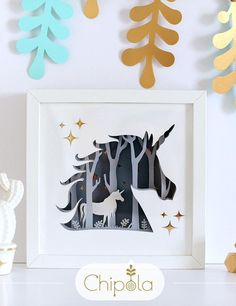 Unicorn Paper Art Unique Christmas gift 3d picture Gift for mom DIY shadow box