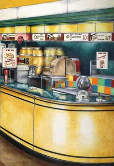 Snack Bar Canvas Print by David Neace. All canvas prints are professionally printed, assembled, and shipped within 3 - 4 business days and delivered ready-to-hang on your wall. Choose from multiple print sizes, border colors, and canvas materials. Colored Pencil Artwork, Colored Pencils, Buy Art Online, Snack Bar, Printing Companies, Chalk Art, Stretched Canvas Prints, Wooden Frames, Decorating Your Home