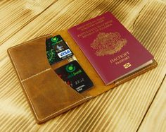 Passport Wallet Leather Mens Womens Travel by PopovLeather