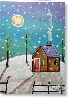 Greeting Card featuring the painting Snowfall by Karla Gerard