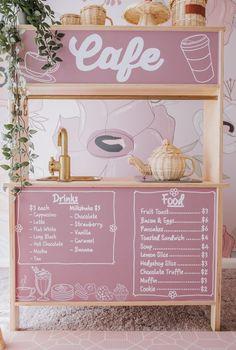 Ikea Hacks, Ikea Play Kitchen, Play Kitchens, Market Stands, Smoothie Bar, Hanging Racks, Fabric Wallpaper, Decoration, Kids Room
