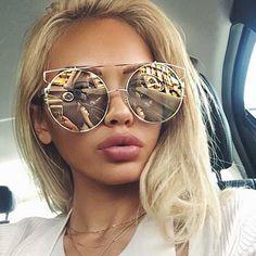 Top Quality Alloy Frame Sunglasses Women Classic Reflective Coating Brand Design Vintage Round Sun Glasses Oculos De Sol MA197