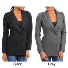 @Overstock - This women's blazer jacket from Stanzino features a double breasted lapel with a button front closure. This jacket is complete with two front pockets and is lined in 100-percent polyester.http://www.overstock.com/Clothing-Shoes/Stanzino-Womens-Wool-Blazer-Jacket-with-Double-Lapel-Detail/7194366/product.html?CID=214117 $32.99