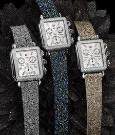 Adore these Michele glitter watch straps.