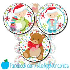 Baby's First Christmas - One inch bottle cap images - JPG format