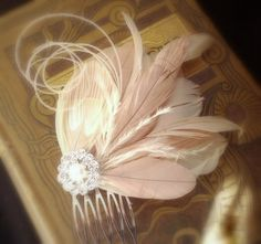Nude and pink champagne feather fascinator,  Wedding bridal Hair clip, Bridal Feather headdress,  FAWN, made to order