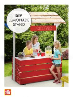 This DIY lemonade stand is perfect for the little entrepreneur in your life. Outdoor Projects, Outdoor Furniture, Outdoor Decor, Lemonade, Toy Chest, Basement, Entrepreneur, Decor Ideas, Storage