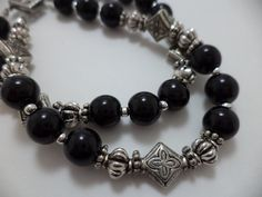 Gorgeous, Black, Silver, Double Strand, Glass Bead, Bracelet. $20.00, via Etsy.